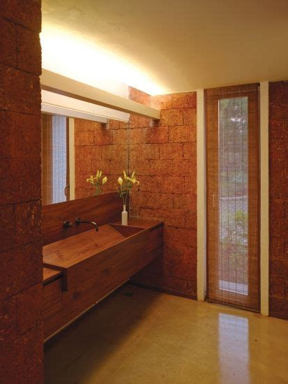 check   fab wooden counter basin wedged  walls  beautiful red laterite stone