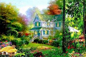 Spring Garden House Desktop Backgrounds Wallpapers HD Free ...