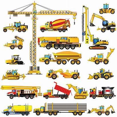 Construction Heavy Icons Equipment Machines Vector Machinery