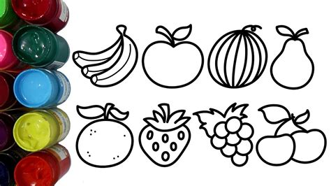 belajar mewarnai aneka buah buahan dengan cat air untuk
