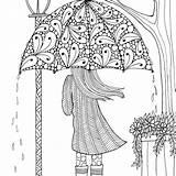 Coloring April Pretty Umbrella sketch template