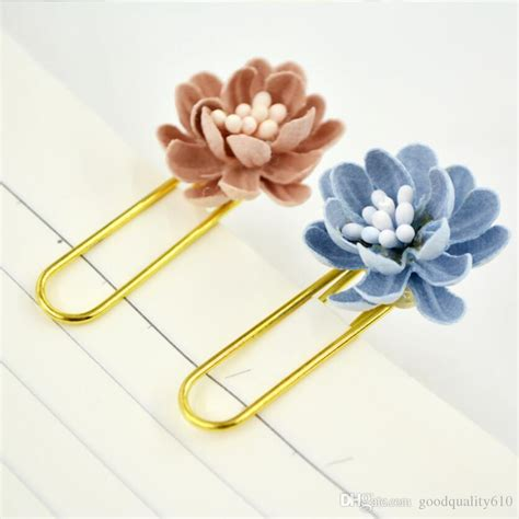 5 boxes mixed flower bookmark paper clip office stationery
