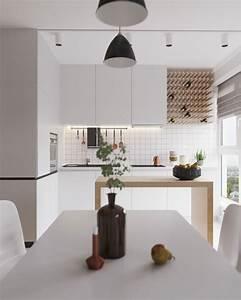 cuisine moderne blanche et bois clair With cuisine blanche et bois clair