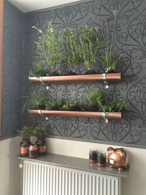 Indoor Vertical Herb Garden by Indoor Vertical Herb Garden Pvc Gutter And Copper Spray