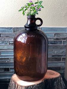 Amber, Glass, One, Gallon, Jug, Brown, Glass, Vintage, Amber, Glass, Large, Flower, Vase, Rustic, Vase