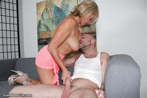 Older Blonde Cougar Giving Long Dick A Handjob For Cumshot