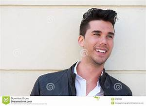 Portrait Of A Handsome Young Man Smiling Outdoors Royalty ...