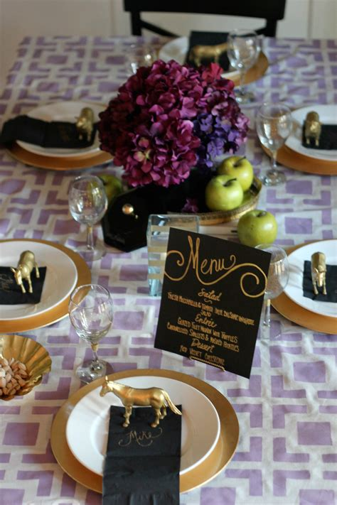 purple and black table settings purple black gold tablesetting ideas parties for pennies
