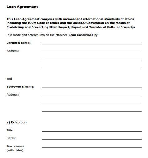 loan agreement template   samples examples format