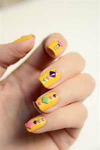Neon Mosaic Summer Nails - Tutorial | Yellow nails ...