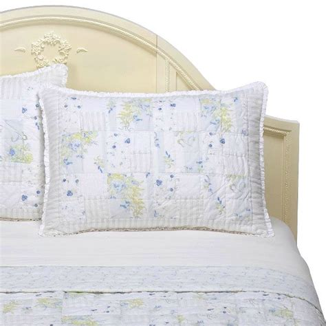 target shabby chic white quilt simply shabby chic garden stripe blue twin set quilt