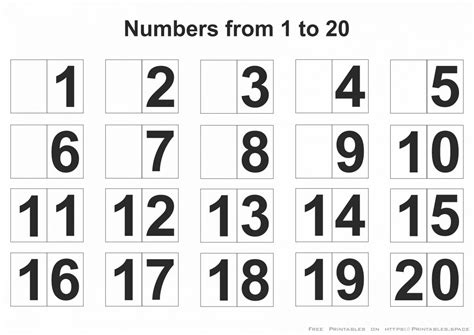 printable numbers 1 20 kidz activities