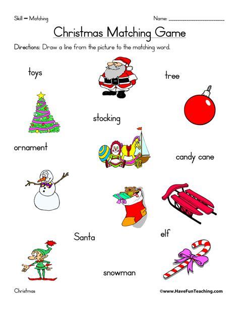 Christmas Matching Worksheet  Have Fun Teaching