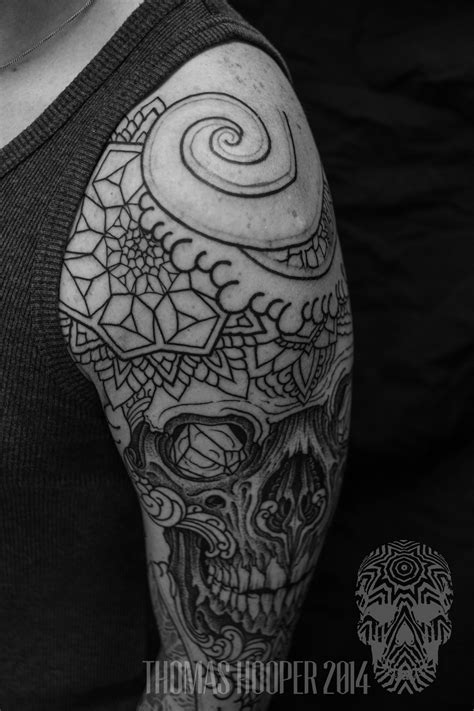 » Skull Mandala Layered Thomas Hooper Dotwork Tattoo-17 Hoopers Electric