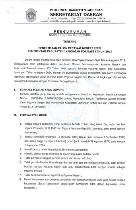 Contoh Surat Lamaran Cpns Kemenristekdikti by Pengumuman Seleksi Cpns Tahun 2014 Pemerintah Kabupaten