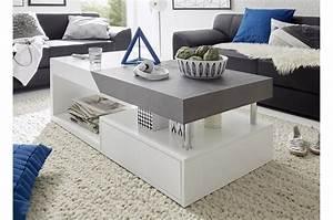 Table basse blanc laqué mat & gris béton Trendymobilier