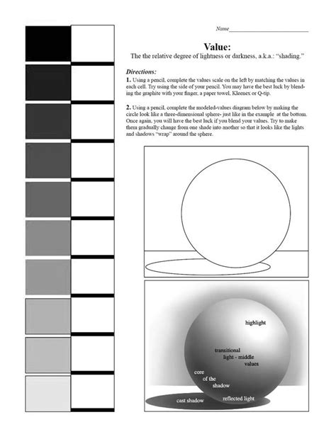value scale and sphere worksheet 7th grade blending