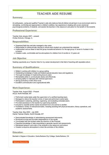 Teachers Aide Resume by Sle Aide Resume