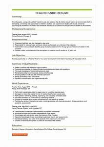 Sample Teacher Aide Resume