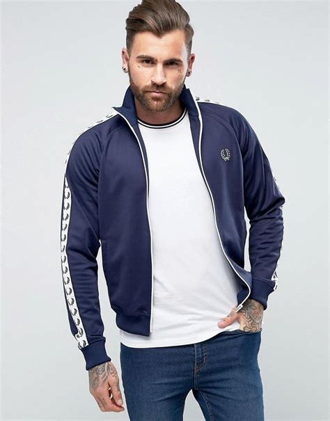 fred perry köln fred perry sports authentic slim fit taped track jacket navy in blue for lyst