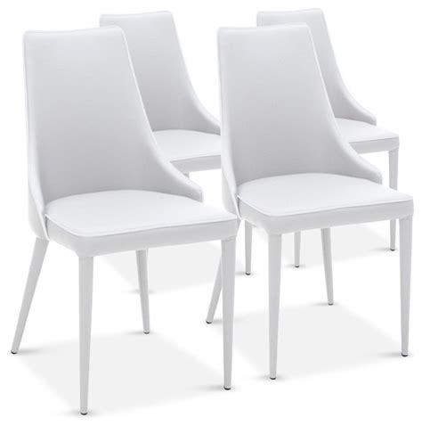lot de 4 chaises drogo blanches design contemporain
