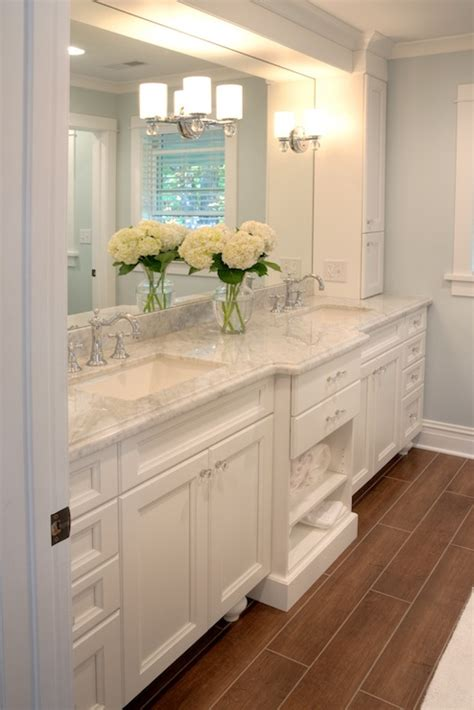 white carrera marble countertops traditional bathroom