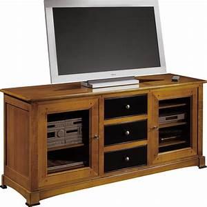 Meuble Tv Hifi : meuble tv hifi 3 tiroirs 2 portes vitr es ~ Teatrodelosmanantiales.com Idées de Décoration