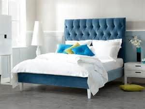 Blue Velvet King Headboard by Lowry King Size Bed The English Bed Company
