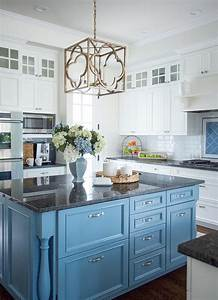 cornflower blue kitchen island with black granite With kitchen colors with white cabinets with blue flower canvas wall art