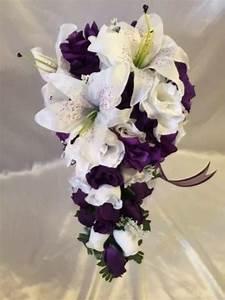 Purple White Wedding Bridal Bouquet Cascade Silk Rose ...