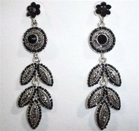 black chandelier earrings with crystals sparkling smoky black chandelier earrings ebay