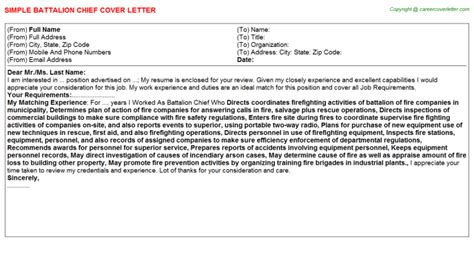 battalion chief cover letter job200920