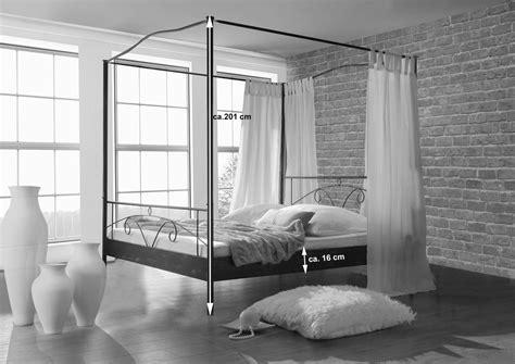 Bett11® Metallbett Himmelbett schwarz 140 x 200 cm CASSI
