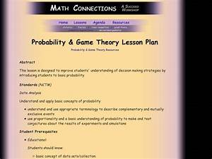 Probability  U0026 Game Theory Lesson Plan For 11th