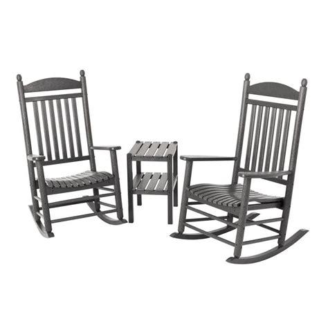 polywood jefferson slate grey 3 piece patio rocker set