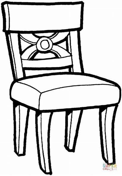 Chairs Kitchen Table Coloring Chair Drawing Pages