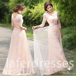 2015 new v neck long sleeve blush pink a line bridesmaid With long sleeve blush wedding dress