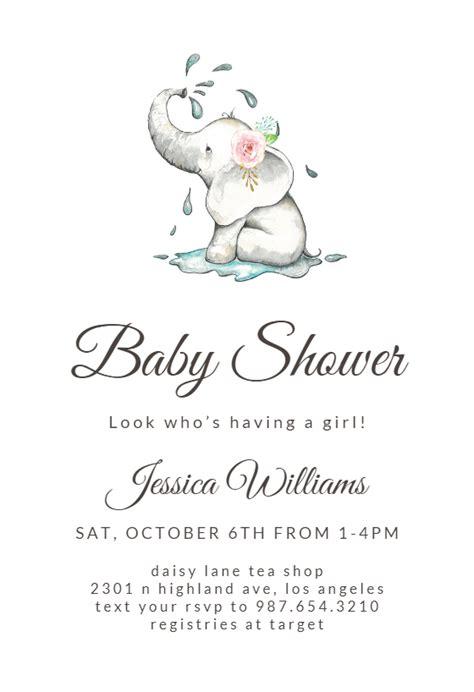 elegant elephant baby shower invitation template