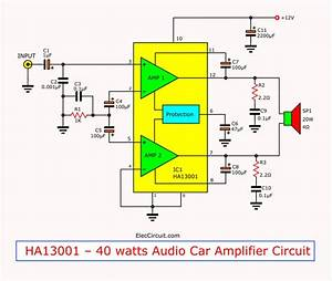 Mini 40 Watt Audio Car Amplifier Circuit Using Ha13001