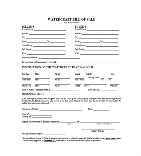 Boat Bill Of Sale Kansas by Watercraft Bill Of Sale 8 Free Sle Exle Format