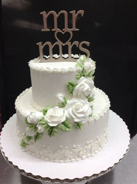 Small Wedding Cake Like The Bottom Edge Flowers On Top