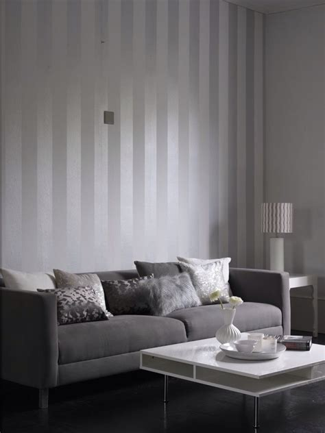 Living Room Wallpaper Grey Walls by Metallic Grey And White Stripe Wallpaper Design From The
