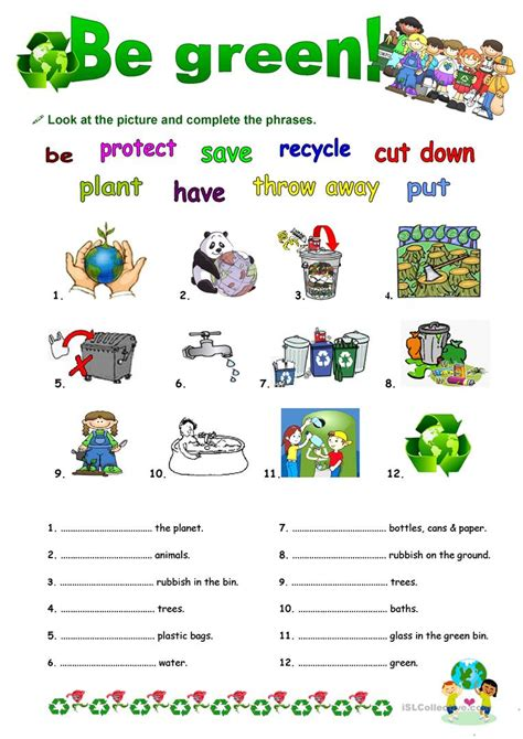 be green with going to worksheet free esl printable