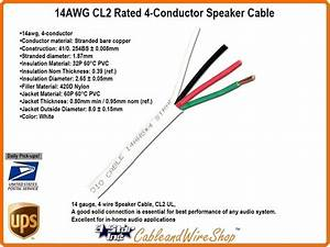 14 Awg Cl2 Rated 4 Conductor Speaker Cable 14  4 41 Strand