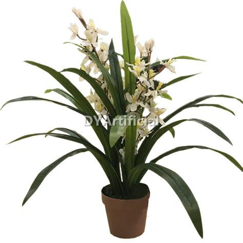 height of plant 76cm height artificial small dwarf cymbidium plant white dongyi