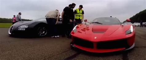 bugatti veyron  laferrari  epic drag race video