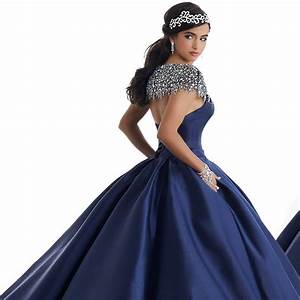 2018 Navy Blue Satin Quinceanera Dresses With Silver Beads ...