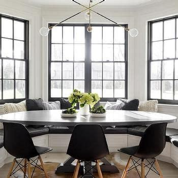 Luxe Urbane Interiors With A Delightful Touch Of Whimsy by Black And White Bay Window With Built In Banquette And