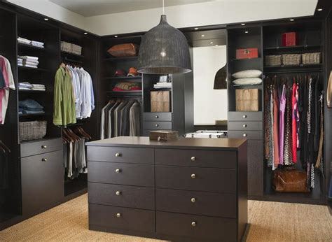 walk in closet with center island from california closets