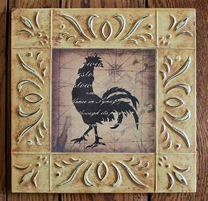 Rustic, Accent, Home, Picture, Decor, Wood, Framed, Art, Rooster, Kitchen, Plaque, Sign
